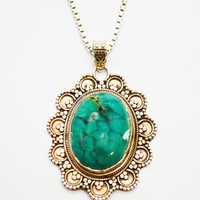 Vintage Hand Made Sterling Silver Chrysocolla Pendant Necklace