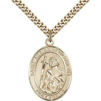 "Saint Adrian Of Nicomedia Medal For Men - Gold Filled Necklace On 24"" Chain -... 617759031225"