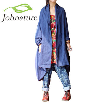 Johnature 2016 New Women Cotton Linen Retro Original Vintage Plus Size Maxi Long Sleeve Cardigan Leisure Loose Long Trench Coat