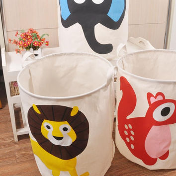 40*50cm Zakka Style Cartoon Canvas Cotton Linen Fabric Clothing Barrels Laundry Storage Basket Bags for Toys Book towels