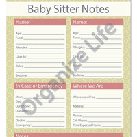 Baby Sitter Notes - Printable PDF
