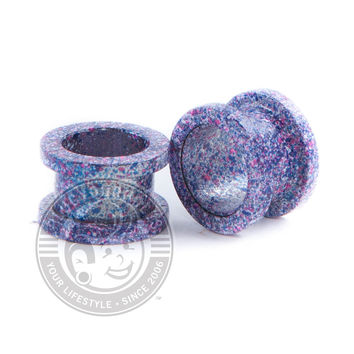 Metallic Purple Splatter Threaded Steel Tunnels