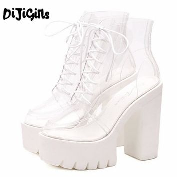 super high heels thick soles bottom Perspex clear transparent ankle boots female Platform anti slip boots casual shoes Plus Size