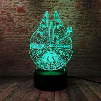 Star Wars Force Episode 1 2 3 4 5 Luminous 3D Illusion LED NightLight Colourful Flashing Light Glow in the Dark  Figure Millennium Falcon Model Toys AT_72_6