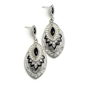 OVAL STONE DESIGN DROP EARRINGS