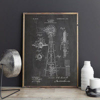 Windmill Patent, Windmill Poster, Windmill Wall Decor,Farm Windmill Decor,Windmill Decor,Windmill Wall Art,Farmhouse Poster,INSTANT DOWNLOAD