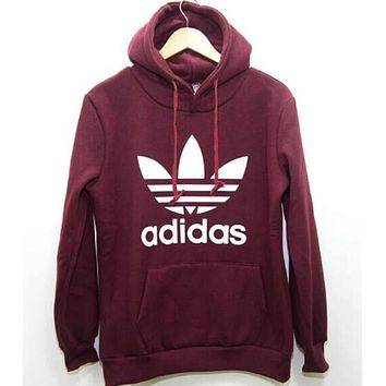 """Fashion """"Adidas"""" Print Hooded Pullover Tops Sweater Sweatshirts Wine red"""