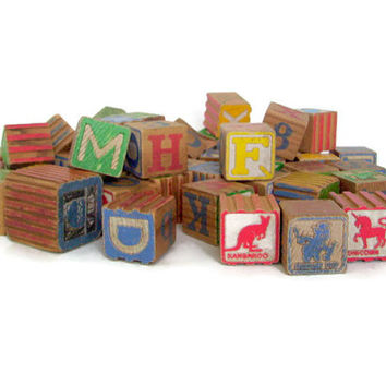 Vintage Toy Baby Blocks, Wooden, Letters and Animals, Painted, Antique Child's Toy, Photo Prop, 45 Blocks