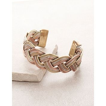 Tri-Metal Braid Tibetan Healing Bangle