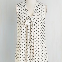Vintage Inspired Mid-length Sleeveless South Florida Spree in White Dots by ModCloth