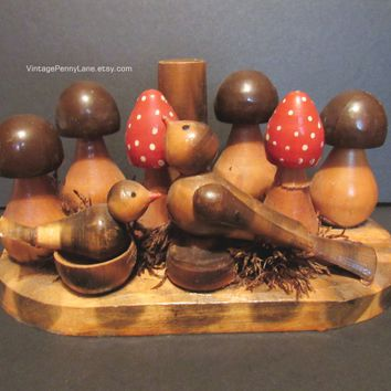 Vintage Candle Holder, Handmade Woodland Birds and Mushrooms, Woodcraft / Folk Art