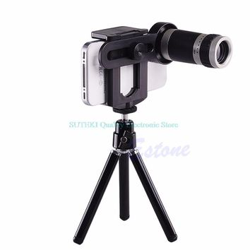 Free Shipping 8X Optical Zoom Camera Telescope Lens Holder Tripod For Mobile Phone