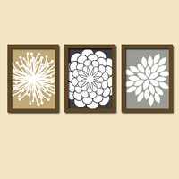 Navy Grey Beige Flower Burst Daisies Petals Artwork Set of 3 Trio Prints Wall Decor Abstract Art Picture Silhouette