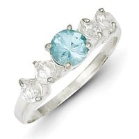 Sterling Silver Light Blue Round Synthetic CZ w/ Side Stones Ring