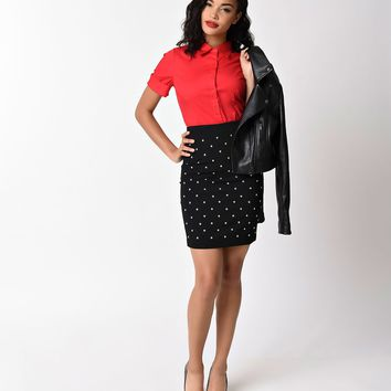 Retro Style Black & Silver Studded Pencil Skirt