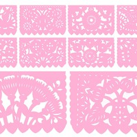 Papel Picado, Light Pink, Mexican banner, 12 feet Long, Fiesta decoration, SB2