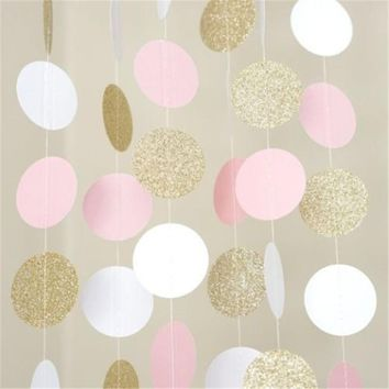 10FT Glitter Bunting Banner Pink White Gold Circle Polka Dots Banner Banner Wedding Birthday Decoration Supplies Paper Garland