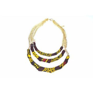 African Ankara Fabric Bib Necklace