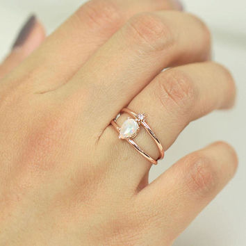 Opal Diamond Double Banded Ring, 14K Solid Gold Ring, Diamond Ring, Opal Ring, Stone Ring, Unique Ring, Double Band Ring, Stackable Rings