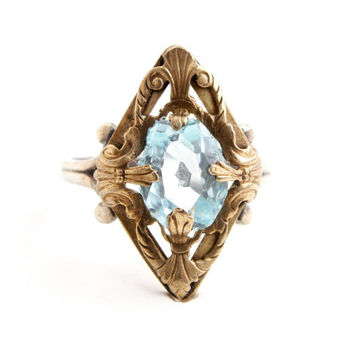 Antique Edwardian Sterling Silver Ring -  Size 7.5 Aquamarine Blue Glass Stone Costume Jewelry / Early Art Deco1910s - 1920s