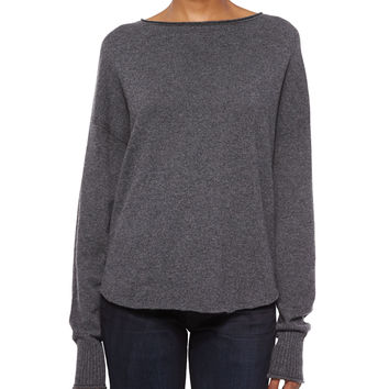 Fine Gauge Cashmere Sweater, Charcoal, Size:
