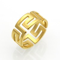 Gold Hollow Out G Pattern Ring Fashion Wedding Jewelry Titanium Steel Finger Ring For Women And Men Greek Key Wedding Ring