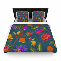 "Laura Nicholson ""Flora Exotica"" Teal Floral Woven Duvet Cover"