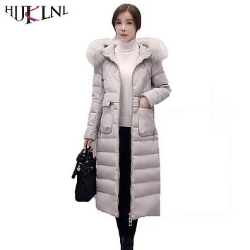 HIJKLNL 2017 New Winter Women X-Long Down Jacket High Quality Fox Fur Collar Feather Duck Down Jacket Female Winter Coat QN477