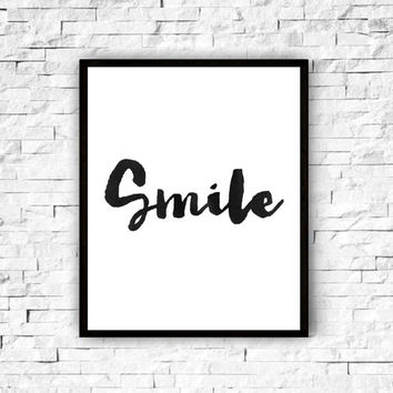 "inspirational printable""smile""motivational poster,best words,home decor,modern wall decor,smile print,watercolor design,typography poster"