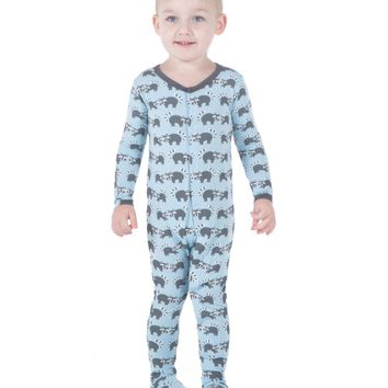 Kickee Pants Boys Print Footie Pond Raccoon