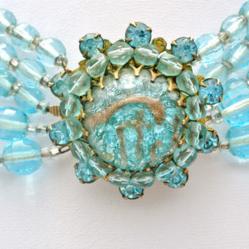 Miriam Haskell Necklace Aqua Blue Glass Bead Foiled Rhinestone Vintage Signed