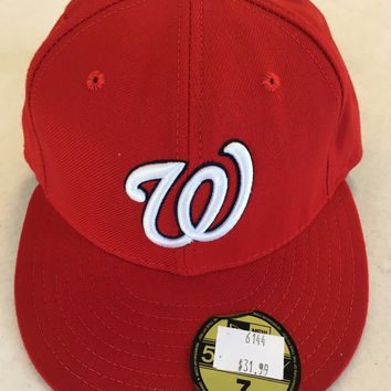 WASHINGTON NATIONALS MLB RETRO NEW ERA 5950 RED W/ GRAY UNDER FITTED HAT