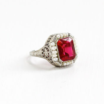 Antique Art Deco 14k White Gold Created Ruby & Seed Pearl Ring - Vintage 1920s 1930s Filigree Pink Gemstone Fine Jewelry