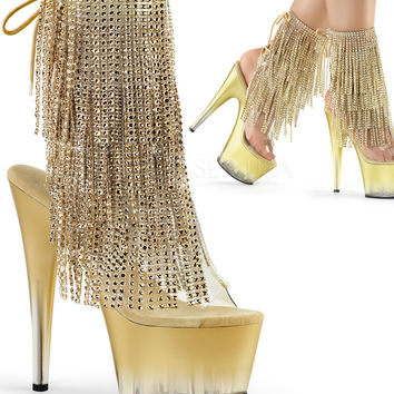 Ankle Boots With Simulated Rhinestone Fringe-Stripper Boots