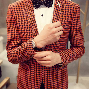 Red Houndstooth Pattern Lapel Long Sleeve Blazer