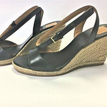 CREY3DS Tory Burch 40022 Landon Wedge Espadrille Ankle Strap Sandal -Black, Size 7