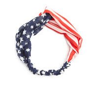FLAG PRINT CHIFFON KNOTTED HEAD WRAP