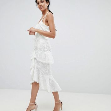 True Decadence Tall Premium Asymmetric Ruffle Lace Midi Skirt at asos.com
