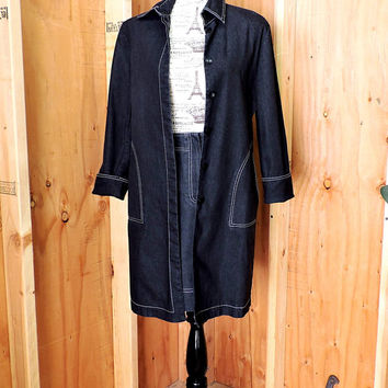 Denim duster / dress / size S / M  6 / 7 / 90s designer long jean jacket and skirt / Peter Nygard /  urban chic long denim coat and skirt