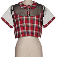 Sinful Prepster Collared Crop Tee   Bloody-Fabulous