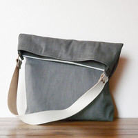 Grey Canvas Tote bag Leather strap plus zipper clutch pouch belt bag