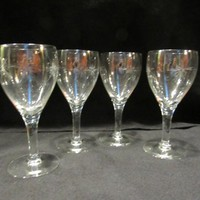 Etched  Wine Glasses, Starburst Wine Glasses, Barware, Stemware, Set of 4   (1711)