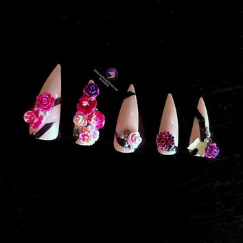 Flowerbomb - Made to Order Full Set of Artificial Nails - stiletto nail - fake nail - acrylic nail - false nail - artificial nail