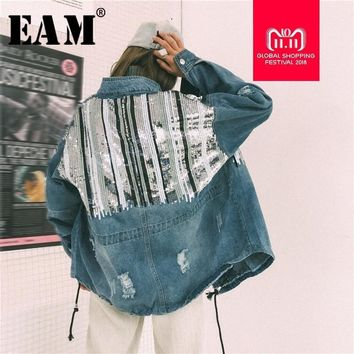 Trendy [EAM] 2018 New Autumn Winter Stand Collar Long Sleeve Blue Denim Sequins Split Joint Large Size Jacket Women Fashion Tide DS1 AT_94_13