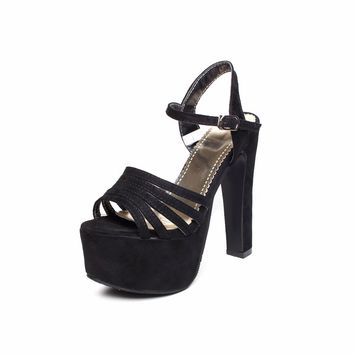 Women Gladiator Sandals High Heels Platform Shoes Pump Strappy Open Toe