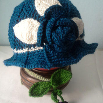 Navy blue crochet cloche hat for Adult and kids with flower-Cloche autumn/fall hat -Christmas gift ideas-PPP-dailyetsysales-CLOCHE902