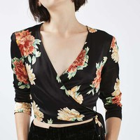 PETITE Floral Satin Wrap Top - Dresses - Clothing