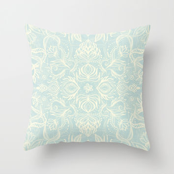 Pale Jade Tattoo - a pattern Throw Pillow by Micklyn