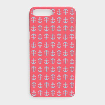 Anchor Toss Cell Phone Case iPhone 7Plus / 8Plus - Light Blue on Coral