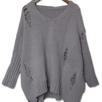 V-Neck Ripped Hooded Sweater